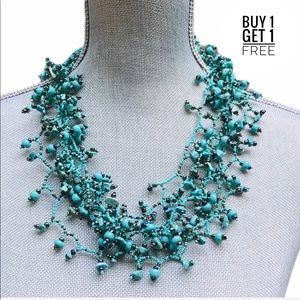 Turquoise Multi Strand Bead /& Shell Statement Necklace